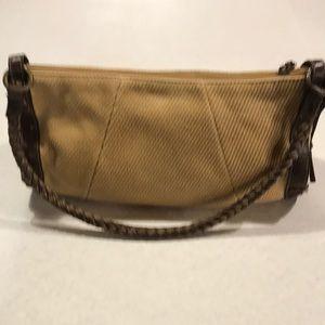 Fossil Mustard Cloth & Brown Leather Shoulder Bag